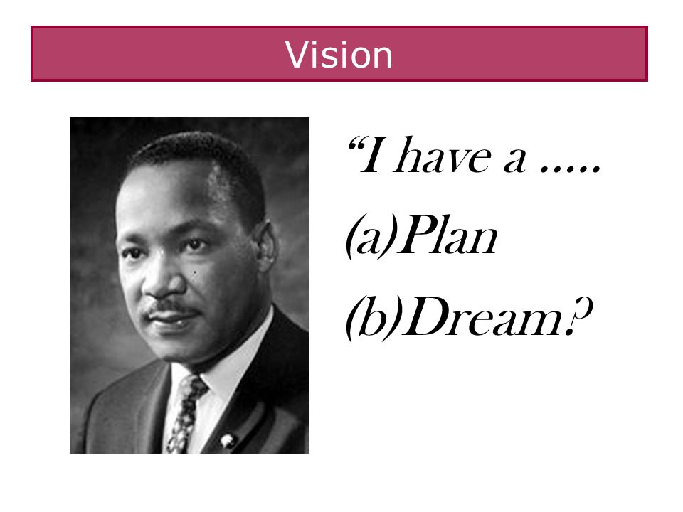 I have a ….. (a)Plan (b)Dream? Vision