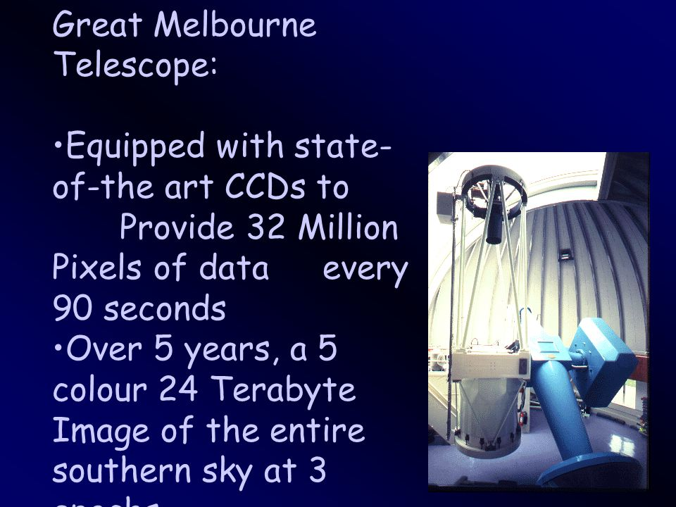 Great Melbourne Telescope: Equipped with state- of-the art CCDs to Provide 32 Million Pixels of data every 90 seconds Over 5 years, a 5 colour 24 Terabyte Image of the entire southern sky at 3 epochs
