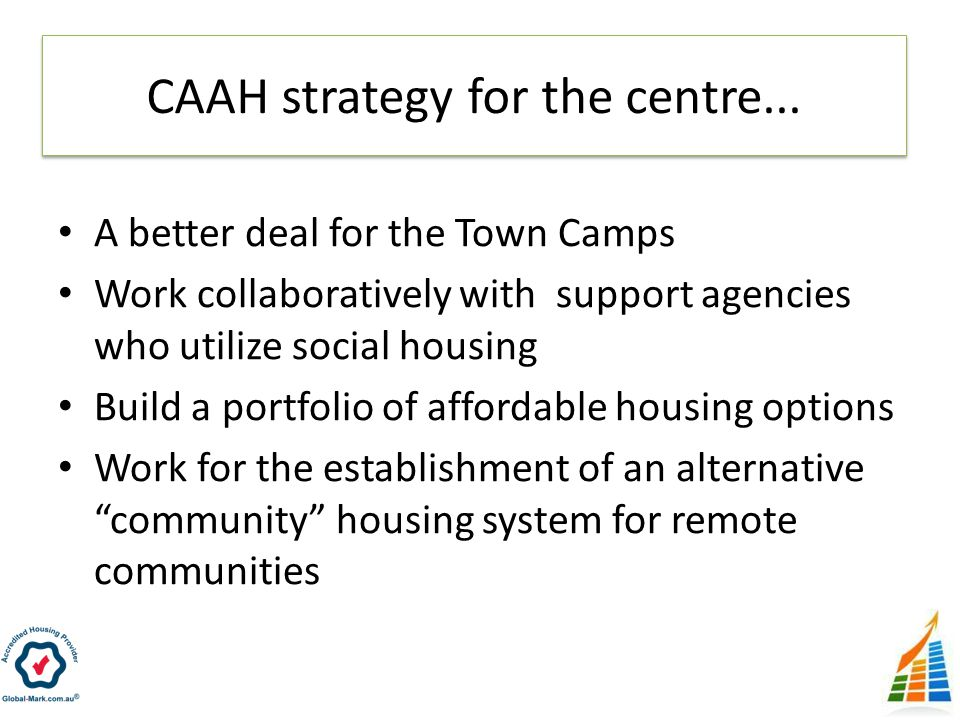 A better deal for the Town Camps Work collaboratively with support agencies who utilize social housing Build a portfolio of affordable housing options Work for the establishment of an alternative community housing system for remote communities CAAH strategy for the centre...