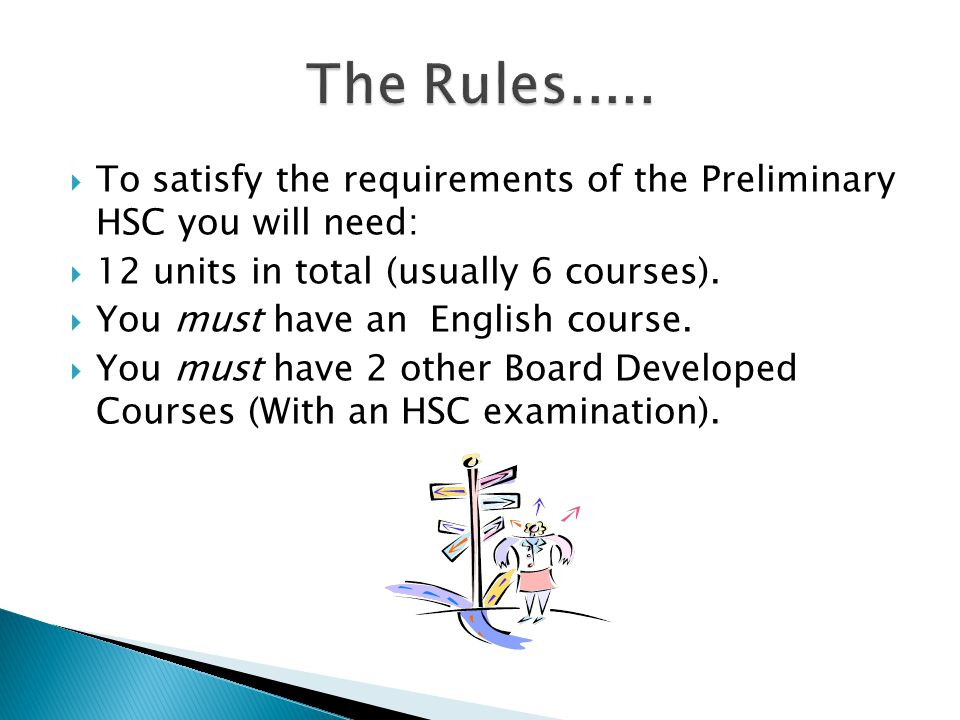  To satisfy the requirements of the Preliminary HSC you will need:  12 units in total (usually 6 courses).