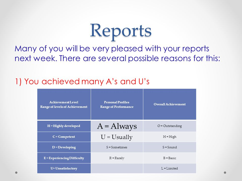 Reports Many of you will be very pleased with your reports next week.