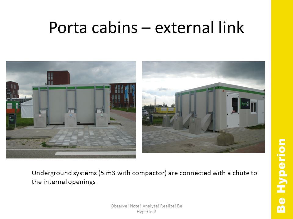 Porta cabins – external link Observe. Note. Analyze.