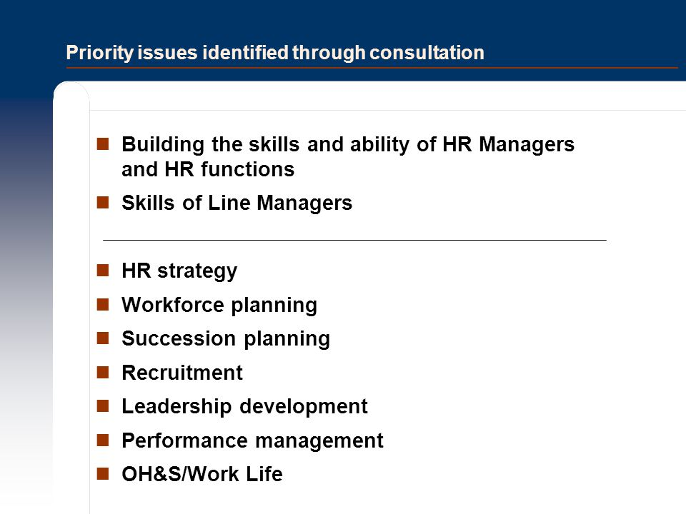 Priority issues identified through consultation Building the skills and ability of HR Managers and HR functions Skills of Line Managers HR strategy Wo