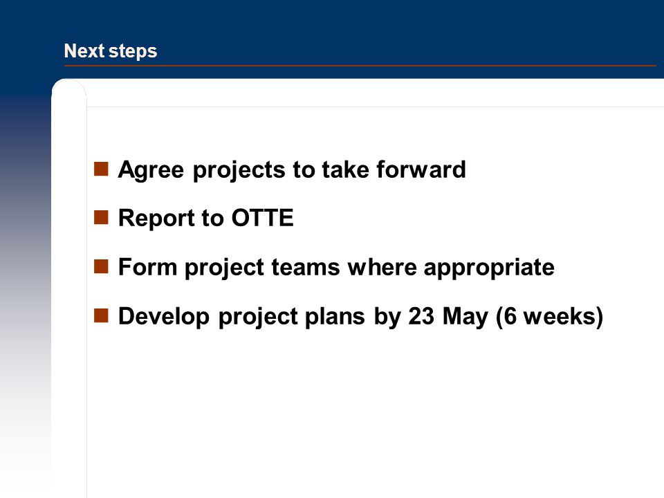 Next steps Agree projects to take forward Report to OTTE Form project teams where appropriate Develop project plans by 23 May (6 weeks)
