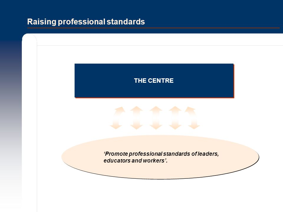 Raising professional standards THE CENTRE 'Promote professional standards of leaders, educators and workers'.