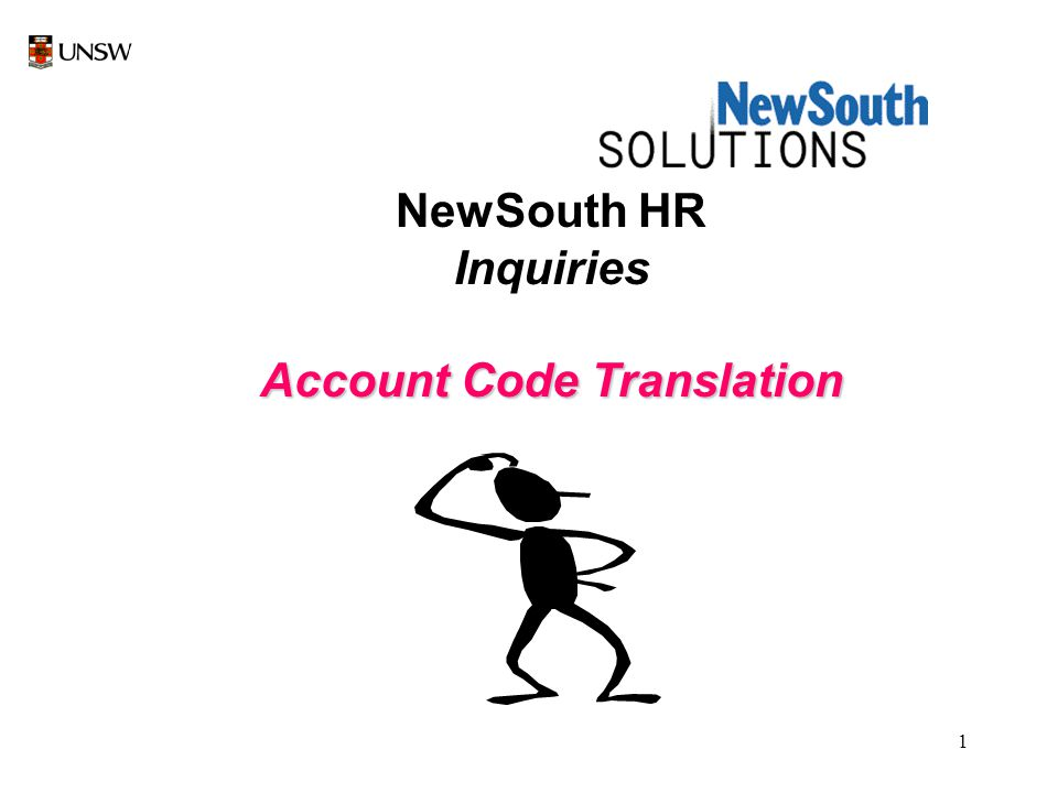 1 NewSouth HR Inquiries Account Code Translation
