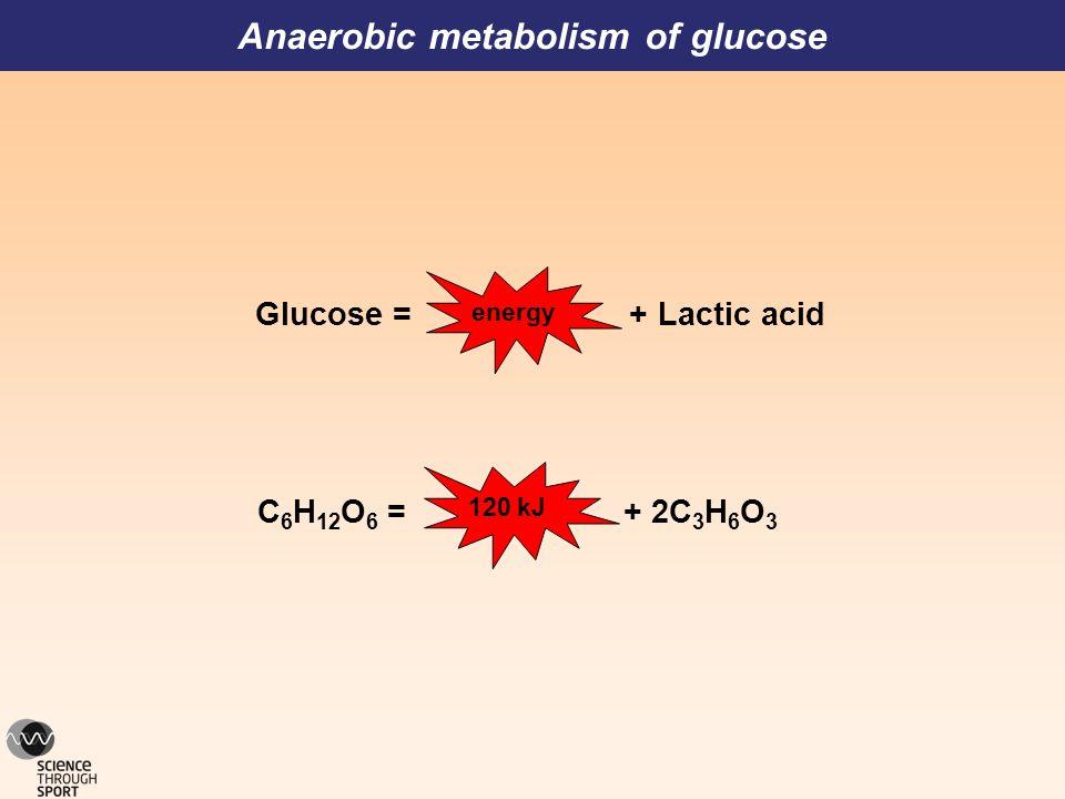 Anaerobic metabolism of glucose Glucose = + Lactic acid C 6 H 12 O 6 = + 2C 3 H 6 O 3 120 kJenergy