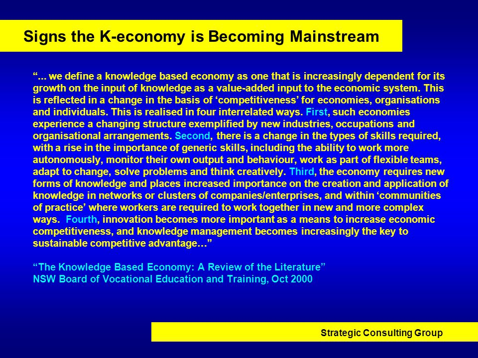 Strategic Consulting Group Signs the K-economy is Becoming Mainstream ...
