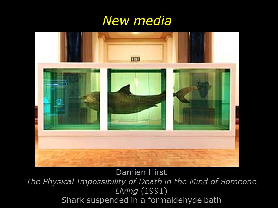Damien Hirst The Physical Impossibility of Death in the Mind of Someone Living (1991) Shark suspended in a formaldehyde bath New media