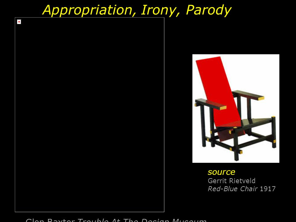 Glen Baxter Trouble At The Design Museum Appropriation, Irony, Parody source Gerrit Rietveld Red-Blue Chair 1917