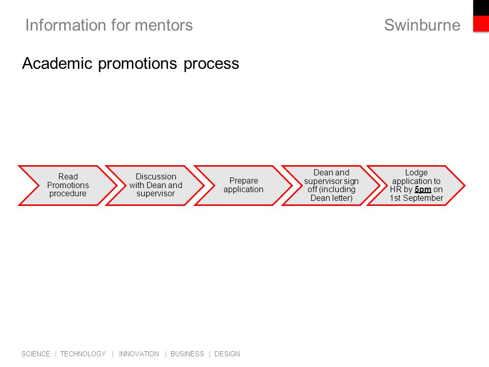 Swinburne SCIENCE | TECHNOLOGY | INNOVATION | BUSINESS | DESIGN Information for mentors Academic promotions process Read Promotions procedure Discussion with Dean and supervisor Prepare application Dean and supervisor sign off (including Dean letter) Lodge application to HR by 5pm on 1st September