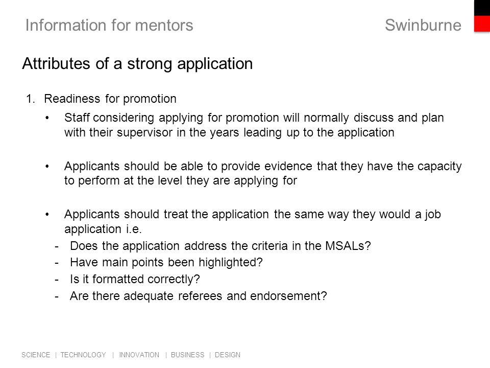 Swinburne SCIENCE | TECHNOLOGY | INNOVATION | BUSINESS | DESIGN Information for mentors 2.