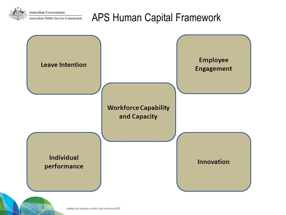 Innovation Individual performance Workforce Capability and Capacity Employee Engagement Leave Intention APS Human Capital Framework