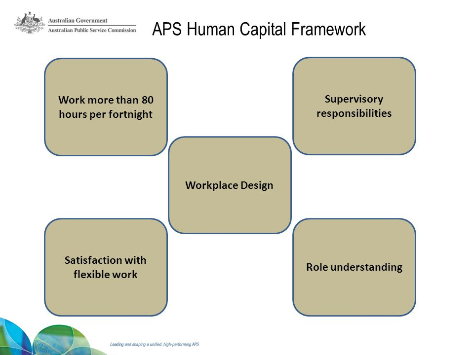 Role understanding Satisfaction with flexible work Workplace Design Supervisory responsibilities Work more than 80 hours per fortnight APS Human Capital Framework
