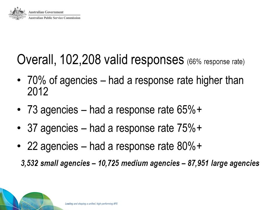 Overall, 102,208 valid responses (66% response rate) 70% of agencies – had a response rate higher than 2012 73 agencies – had a response rate 65%+ 37 agencies – had a response rate 75%+ 22 agencies – had a response rate 80%+ 3,532 small agencies – 10,725 medium agencies – 87,951 large agencies
