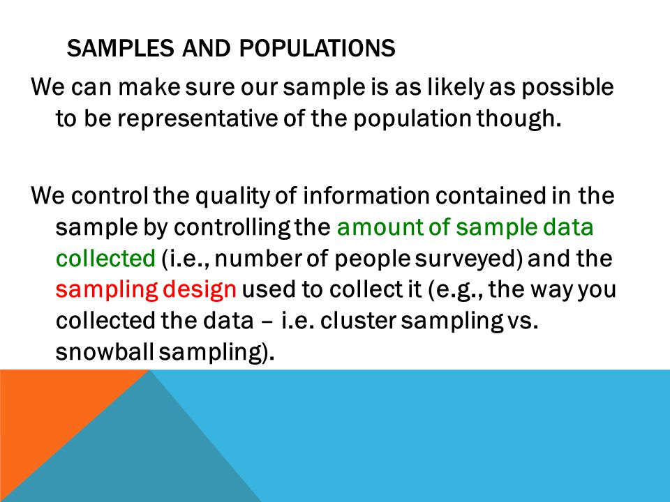 SAMPLES AND POPULATIONS We can make sure our sample is as likely as possible to be representative of the population though. We control the quality of