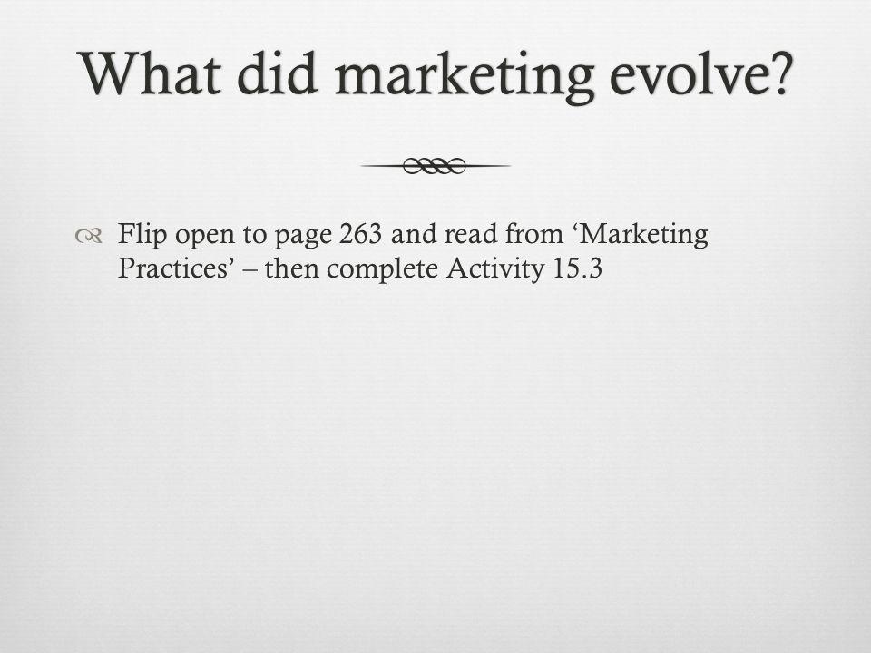 What did marketing evolve What did marketing evolve.