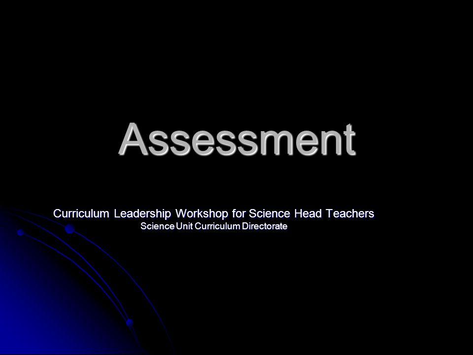 Assessment Curriculum Leadership Workshop for Science Head Teachers Science Unit Curriculum Directorate