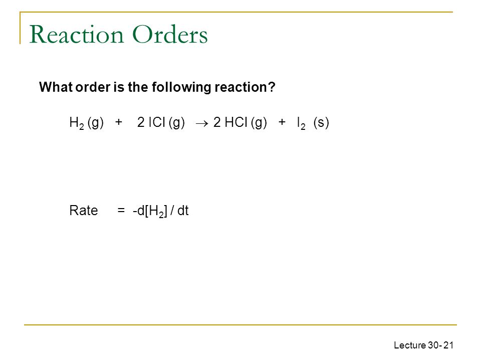 Lecture 30- 21 What order is the following reaction.