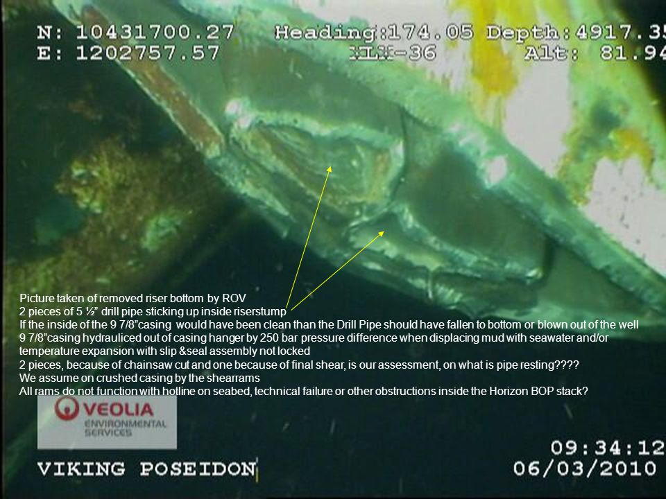 Picture taken of removed riser bottom by ROV 2 pieces of 5 ½ drill pipe sticking up inside riserstump If the inside of the 9 7/8 casing would have been clean than the Drill Pipe should have fallen to bottom or blown out of the well 9 7/8 casing hydrauliced out of casing hanger by 250 bar pressure difference when displacing mud with seawater and/or temperature expansion with slip &seal assembly not locked 2 pieces, because of chainsaw cut and one because of final shear, is our assessment, on what is pipe resting .