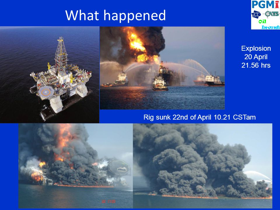Explosion 20 April 21.56 hrs Rig sunk 22nd of April 10.21 CSTam