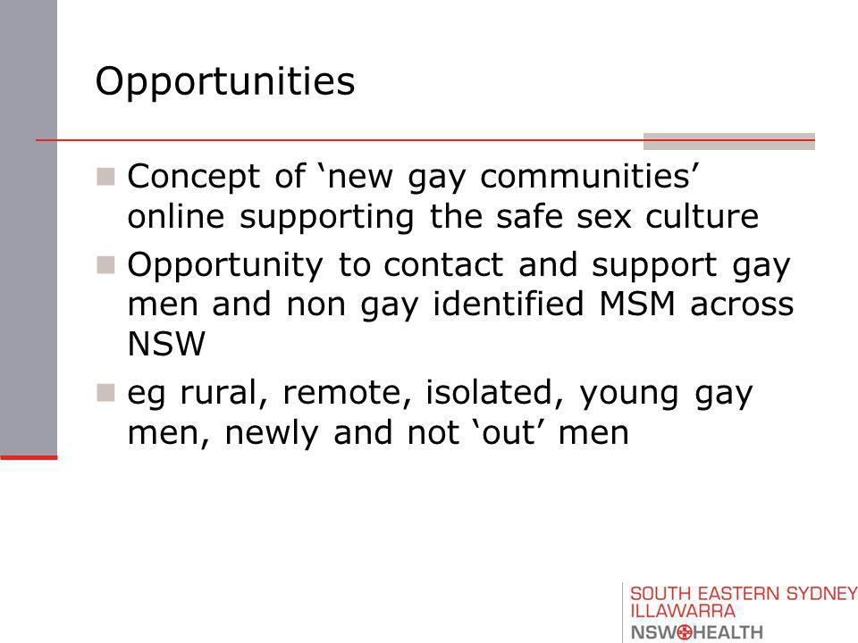 Opportunities Concept of 'new gay communities' online supporting the safe sex culture Opportunity to contact and support gay men and non gay identified MSM across NSW eg rural, remote, isolated, young gay men, newly and not 'out' men