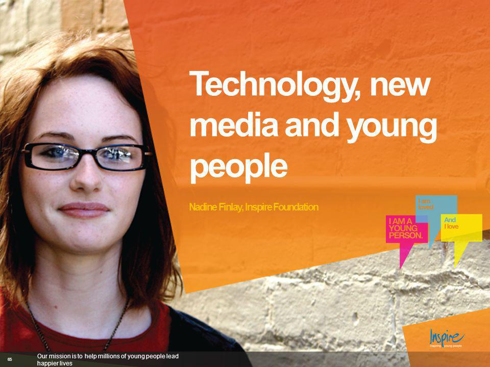 Technology, new media and young people Nadine Finlay, Inspire Foundation Our mission is to help millions of young people lead happier lives 65