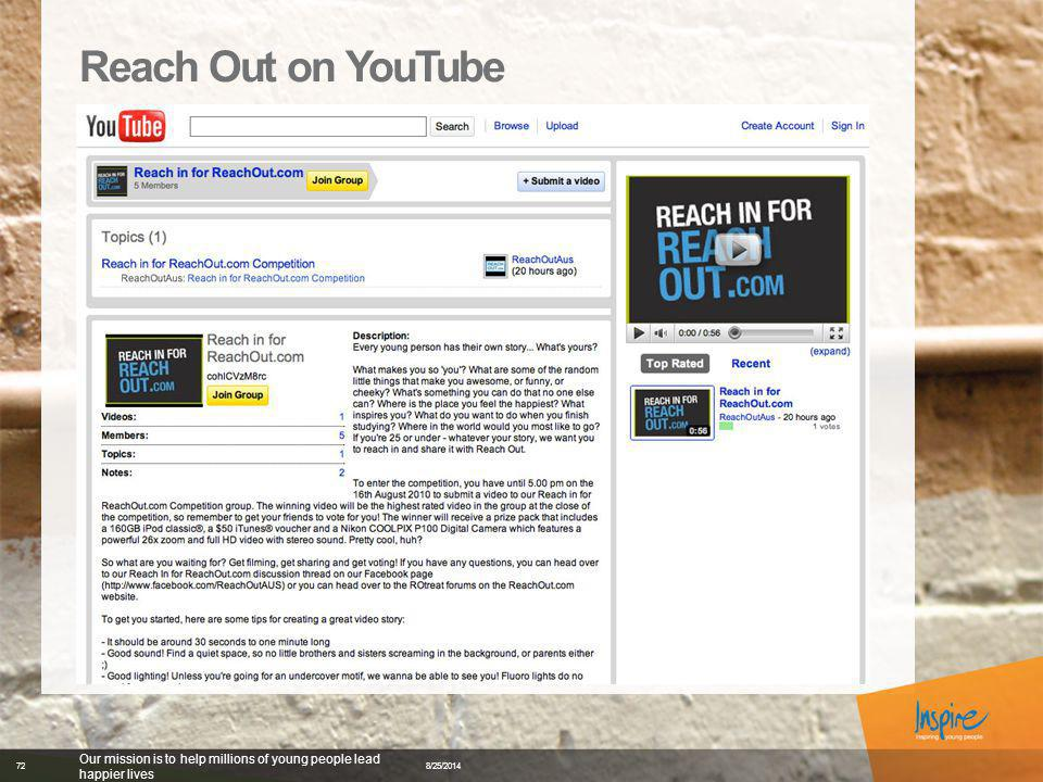 Reach Out on YouTube 8/25/2014 Our mission is to help millions of young people lead happier lives 72