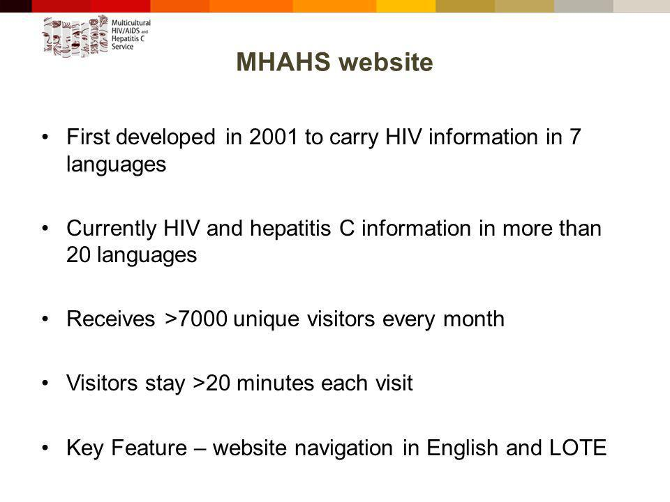 MHAHS website First developed in 2001 to carry HIV information in 7 languages Currently HIV and hepatitis C information in more than 20 languages Receives >7000 unique visitors every month Visitors stay >20 minutes each visit Key Feature – website navigation in English and LOTE