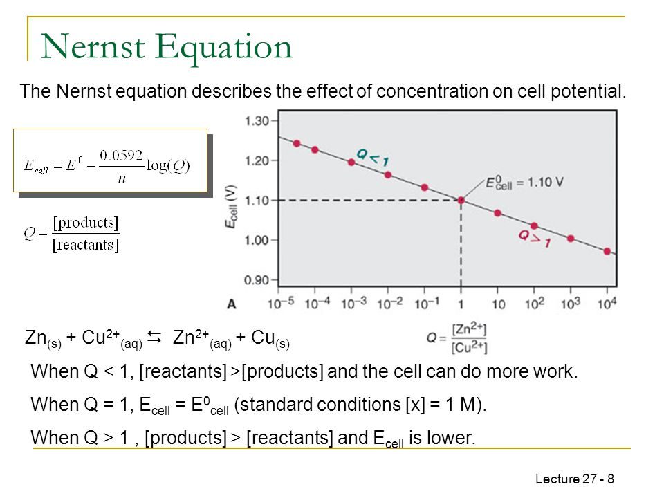 Lecture 27 - 8 Nernst Equation Zn (s) + Cu 2+ (aq)  Zn 2+ (aq) + Cu (s) The Nernst equation describes the effect of concentration on cell potential.