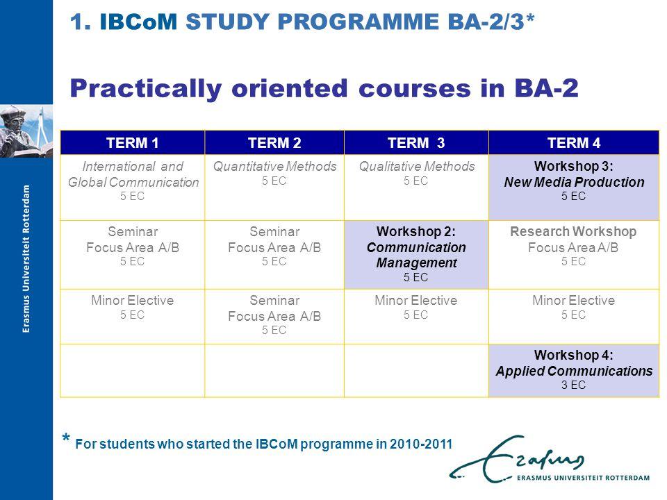 Practically oriented courses in BA-2 TERM 1TERM 2TERM 3TERM 4 International and Global Communication 5 EC Quantitative Methods 5 EC Qualitative Method