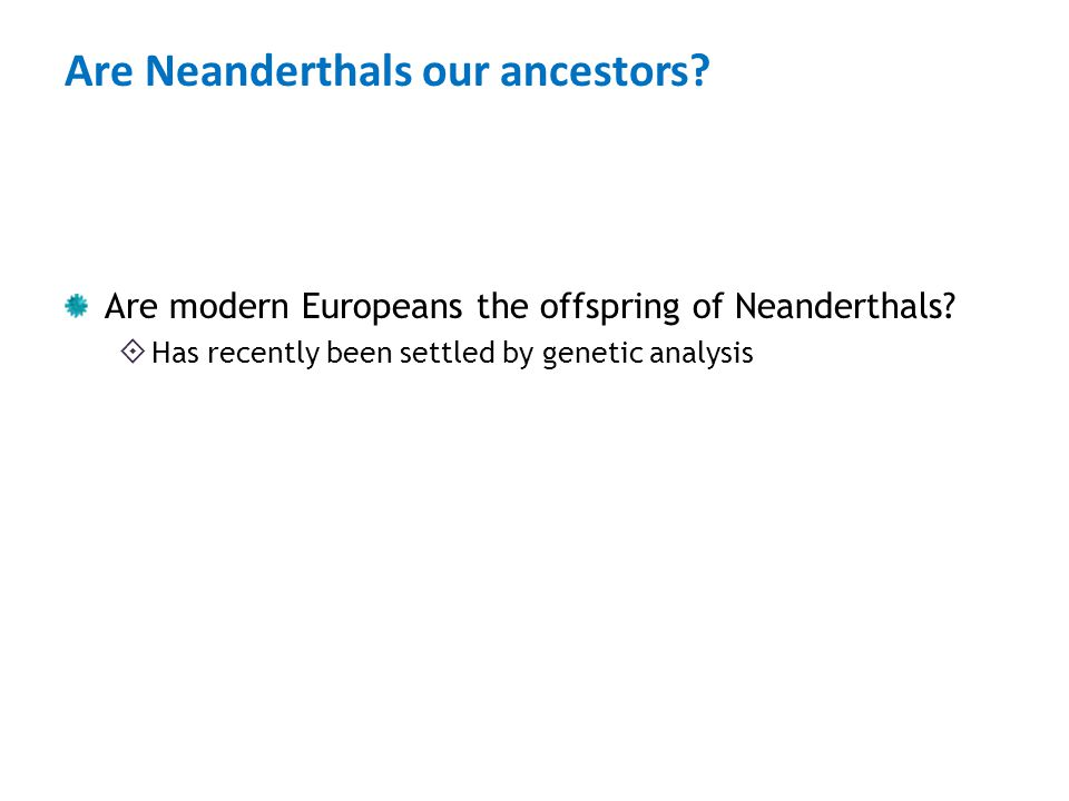 Are Neanderthals our ancestors? Are modern Europeans the offspring of Neanderthals?  Has recently been settled by genetic analysis