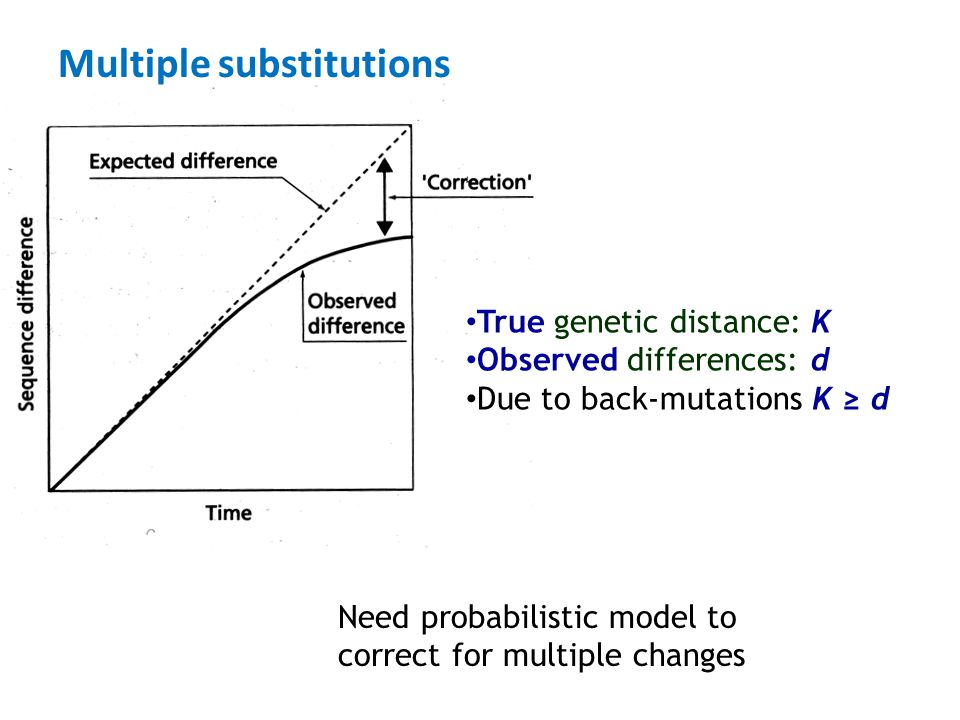 Multiple substitutions Need probabilistic model to correct for multiple changes True genetic distance: K Observed differences: d Due to back-mutations