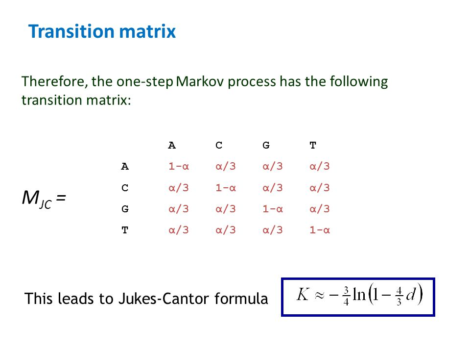 Transition matrix Therefore, the one-step Markov process has the following transition matrix: M JC = ACGT A1-αα/3α/3α/3 Cα/31-αα/3α/3 Gα/3α/31-αα/3 Tα