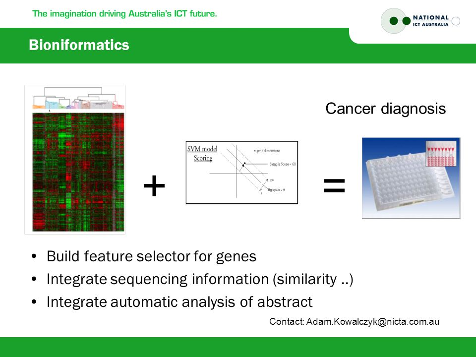 Bioniformatics Build feature selector for genes Integrate sequencing information (similarity..) Integrate automatic analysis of abstract += Cancer diagnosis Contact: Adam.Kowalczyk@nicta.com.au