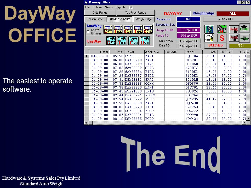Hardware & Systems Sales Pty Limited Standard Auto Weigh The easiest to operate software. DayWay OFFICE