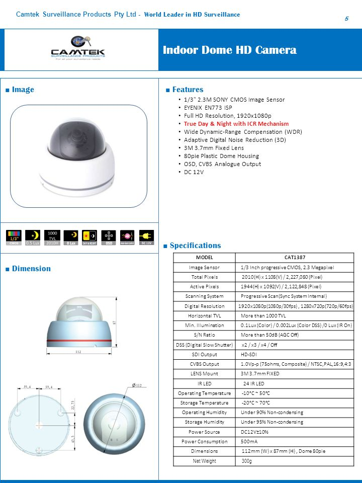 Outdoor Vandal-proof Dome F2.8 – 10mm VF Megapixel Lens IR HD Camera ■ Features ■ Dimension ■ Image ■ Specifications 1/3 inch Progressive Scan 2.1 Mega-PANASONIC CMOS Sensor Up to 1920X1080p @30/25F Video Resolution Day & Night with SMART Noise Reduction (2D+3D) Wide Dynamic Range (Digital) 30 IR LED up to 15M Night Vision with SMART IR Video Test Out (Composite Signal, RAC) 2.8~10mm Vari-focal Megapixel Lens Vandal proof & Weatherproof (IP67) OSD Control ModelCAT58NO148 Image Sensor 1/3 inch Panasonic CMOS(16:9 Full HD Sensor) Effective Pixels1920(H) x 1080(V) 2.1 Megapixel Scanning System Progressive Scan LensF2.8 – 10mm Auto Iris Vari-focal Megapixel @F1.2, ICR Min.