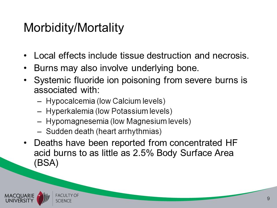 9 Morbidity/Mortality Local effects include tissue destruction and necrosis. Burns may also involve underlying bone. Systemic fluoride ion poisoning f