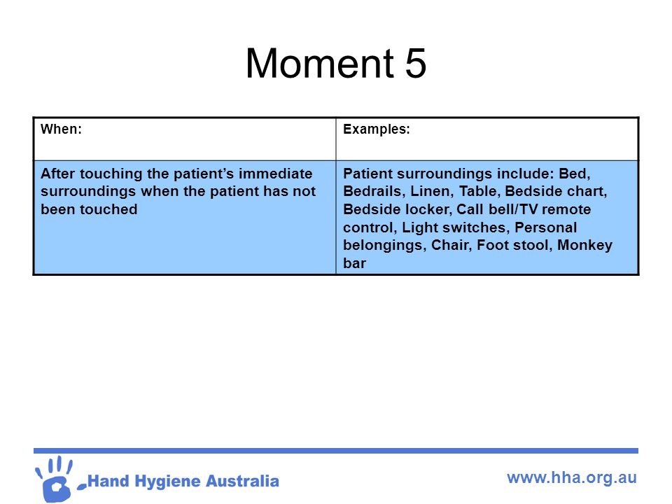 www.hha.org.au Moment 5 When:Examples: After touching the patient's immediate surroundings when the patient has not been touched Patient surroundings