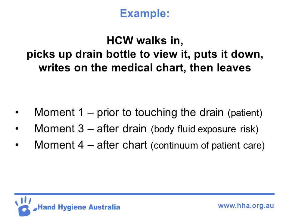 www.hha.org.au Example: HCW walks in, picks up drain bottle to view it, puts it down, writes on the medical chart, then leaves Moment 1 – prior to tou