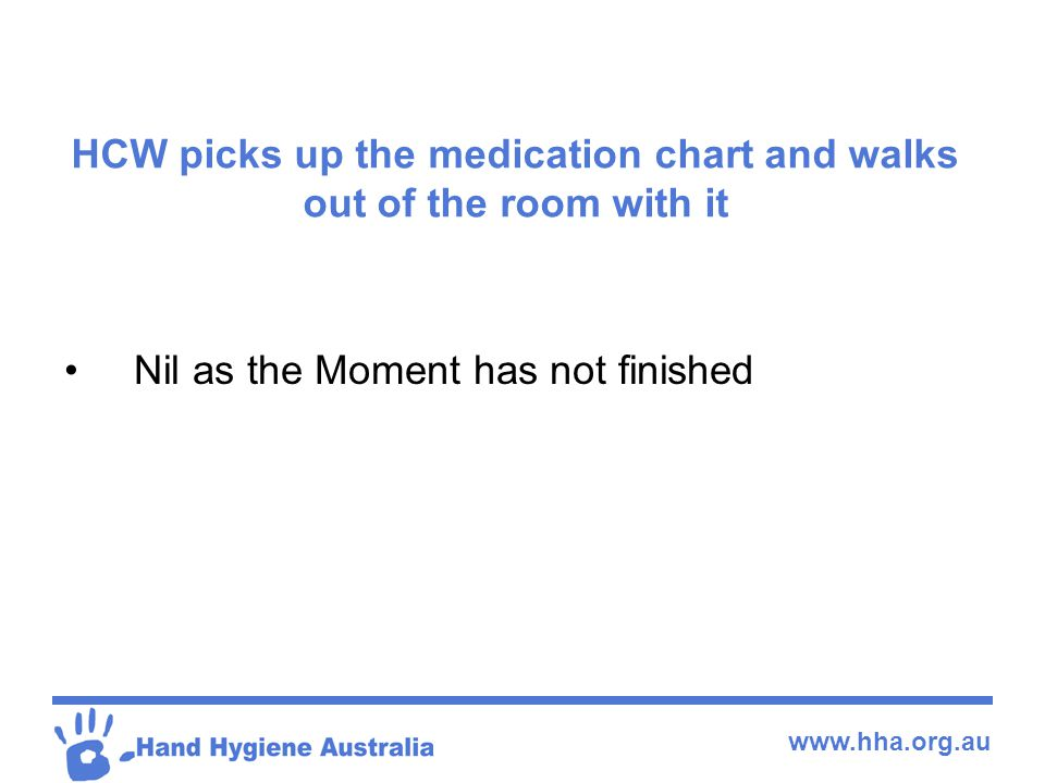 www.hha.org.au HCW picks up the medication chart and walks out of the room with it Nil as the Moment has not finished