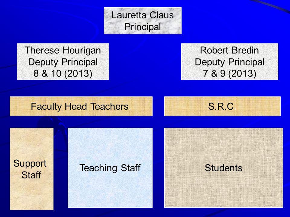 Lauretta Claus Principal Therese Hourigan Deputy Principal 8 & 10 (2013) Robert Bredin Deputy Principal 7 & 9 (2013) S.R.C.
