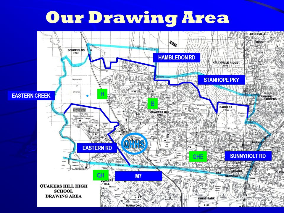 Our Drawing Area HAMBLEDON RD STANHOPE PKY SUNNYHOLT RD M7 EASTERN CREEK H QH B QHE EASTERN RD