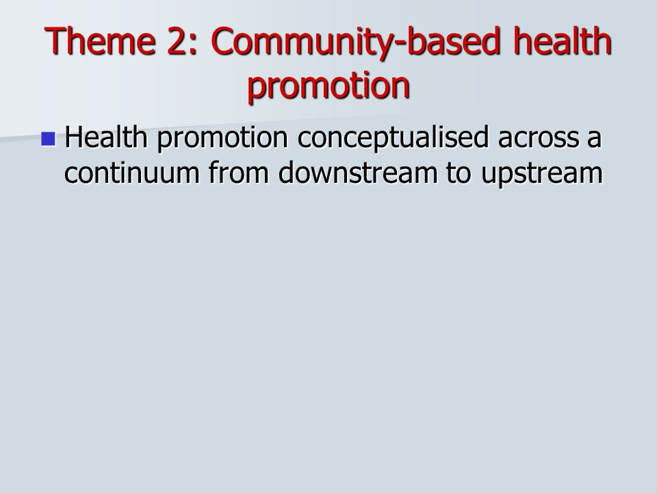 Theme 2: Community-based health promotion Health promotion conceptualised across a continuum from downstream to upstream Health promotion conceptualis