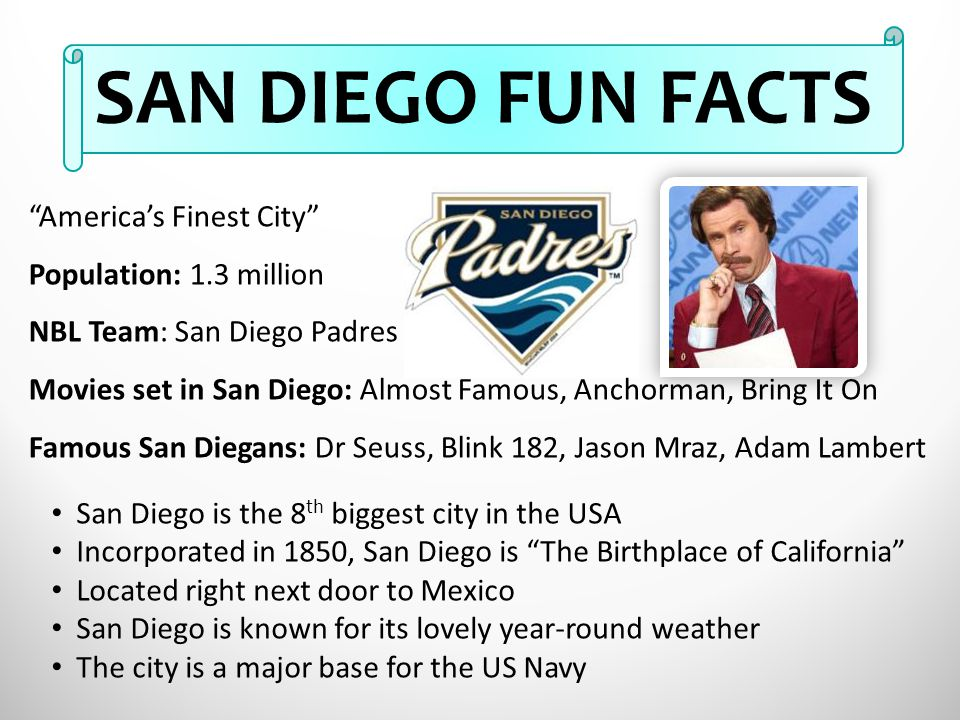 """""""America's Finest City"""" Population: 1.3 million NBL Team: San Diego Padres Movies set in San Diego: Almost Famous, Anchorman, Bring It On Famous San D"""