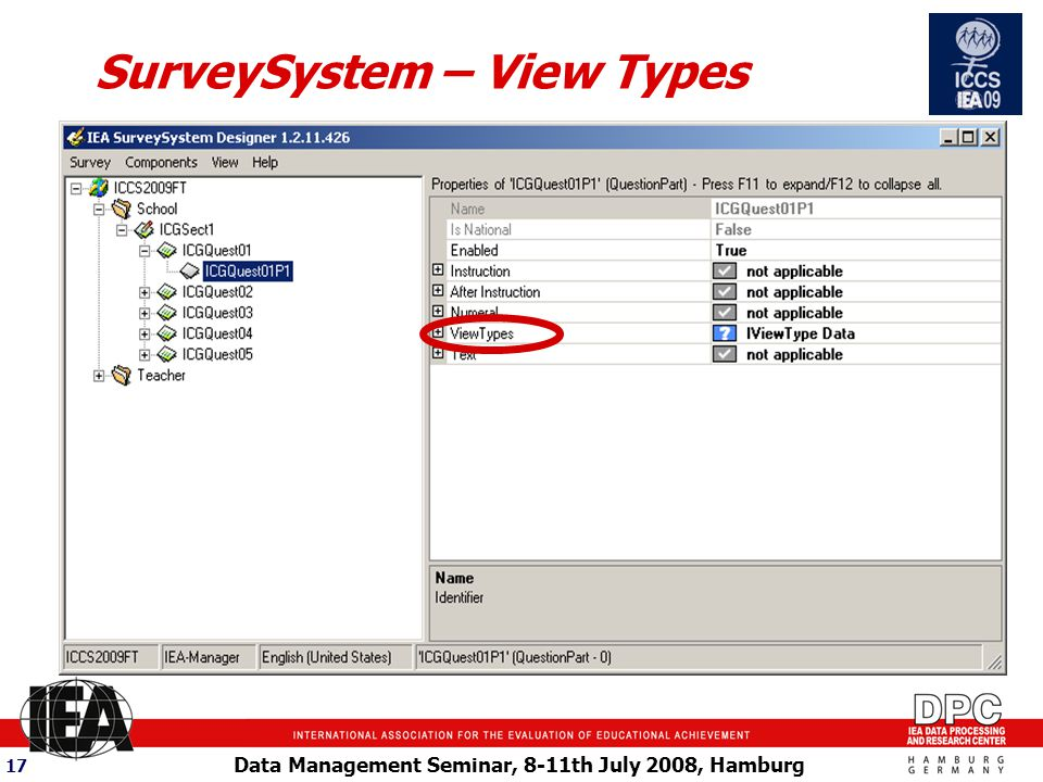 Data Management Seminar, 8-11th July 2008, Hamburg 17 SurveySystem – View Types