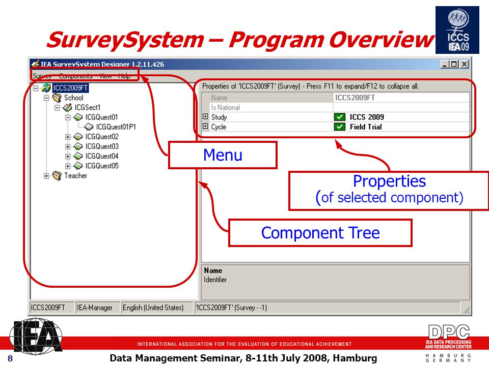 Data Management Seminar, 8-11th July 2008, Hamburg 8 SurveySystem – Program Overview Component Tree Properties ( of selected component) Menu