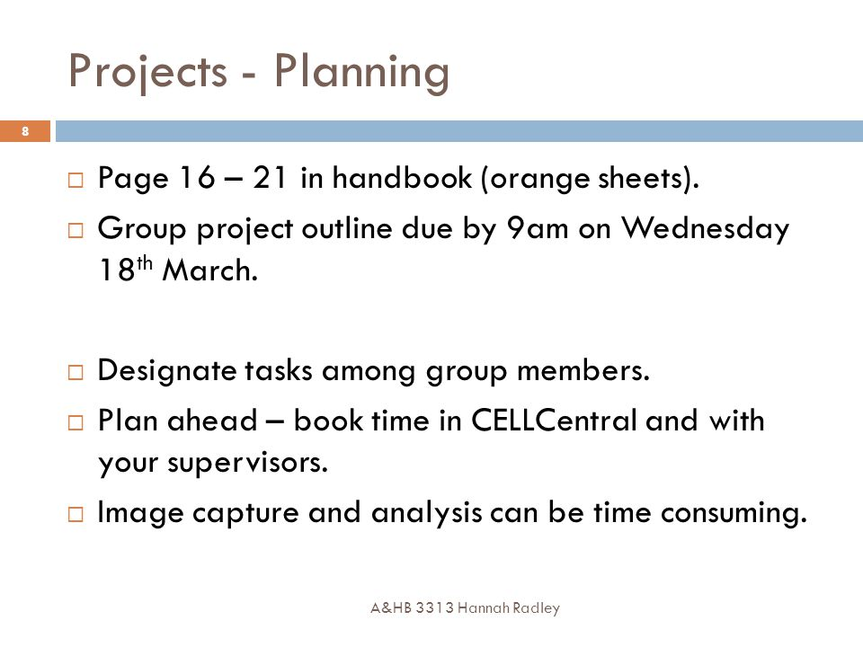 Projects - Planning A&HB 3313 Hannah Radley 8  Page 16 – 21 in handbook (orange sheets).