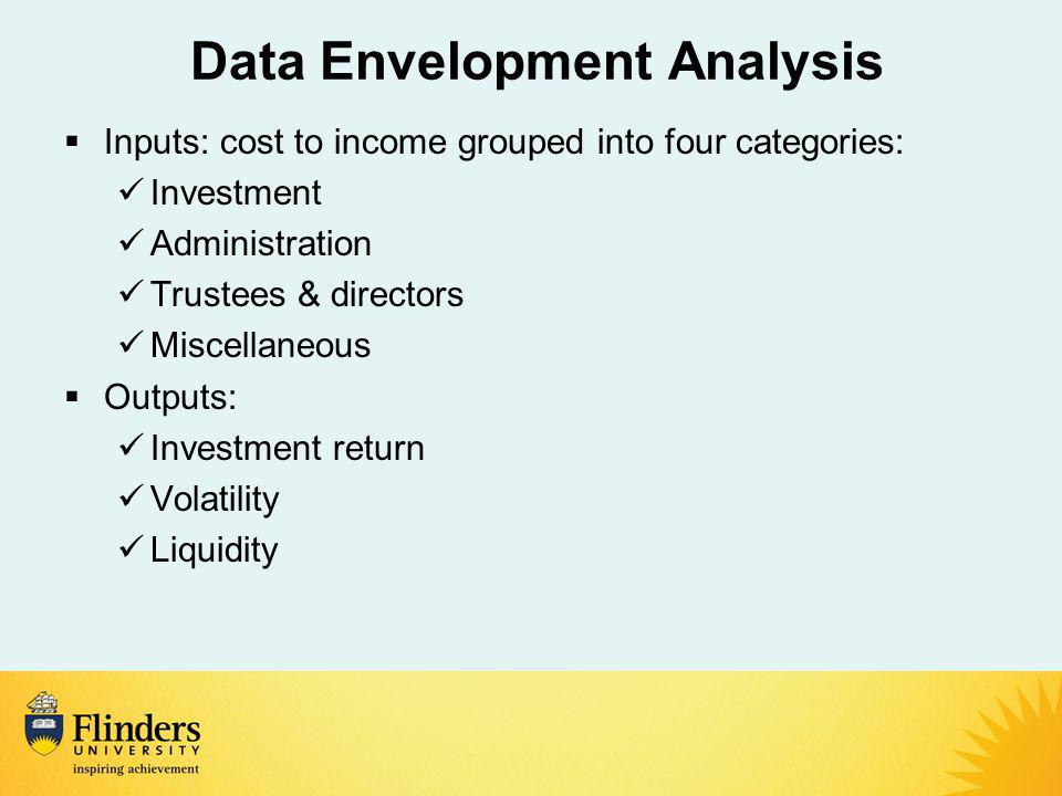 Data Envelopment Analysis  Inputs: cost to income grouped into four categories: Investment Administration Trustees & directors Miscellaneous  Outputs: Investment return Volatility Liquidity