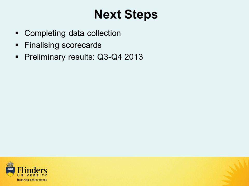 Next Steps  Completing data collection  Finalising scorecards  Preliminary results: Q3-Q4 2013